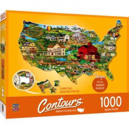 Contours - America the Beautiful 1000 Piece Shaped Jigsaw Puzzle